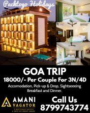 Goa Tour 3 Night/4 Days with Amani Vagator @Rs 8888