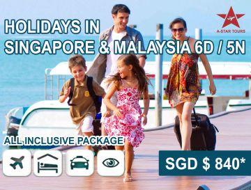 Holidays in Singapore & Malaysia 6 Days / 5 Nights @SGD